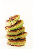 Fried green tomato stack vertical Royalty Free Stock Image