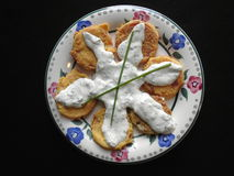 Fried green tomatoes. With horseradish sauce Royalty Free Stock Images
