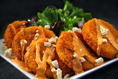 Fried Green Tomatoes covered with Feta Cheese Royalty Free Stock Image