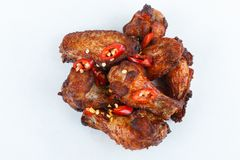 Fried grilled chicken legs on white background. menu. fastfood stock photo