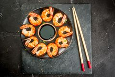 Fried grilled shrimp prawns with soy sauce Stock Images