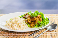 Fried grouper in black pepper sauce Stock Photo