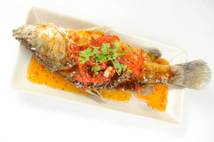 Fried grouper fish Stock Photo