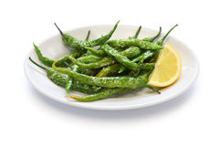 Fried guindilla peppers, basque cuisine Royalty Free Stock Photography