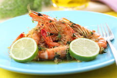 Fried gulf shrimps on a plate with garlic Royalty Free Stock Image