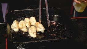 Fried gyoza chinese dumpling on pan. Yummy food stock video