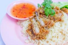 Fried hainanese chicken rice Stock Image