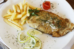 Fried hake fish and chips Stock Image