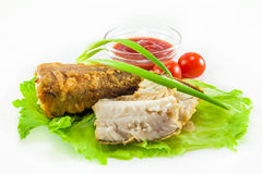 Fried hake with tomatoes Royalty Free Stock Photography