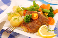 Fried halibut with vegetables  for dinner Royalty Free Stock Images
