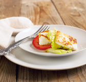 Fried Halloumi Cheese and tomato salad Royalty Free Stock Photo