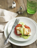 Fried Halloumi Cheese and tomato salad Royalty Free Stock Image