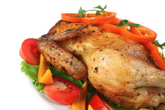 Fried Hen With Vegetables Stock Image