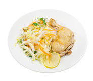 Fried hens and salad. From cabbage Royalty Free Stock Images