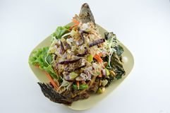 Fried herb fish. Fried fish, including many herbs Royalty Free Stock Photo