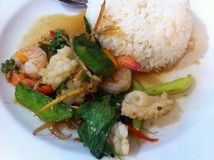 Fried herbal with rice. Fried herbal vegetables seafood with rice. #thai food # spicy # yummy Stock Photo
