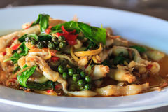 Fried herbal vegetables with Razor clam Royalty Free Stock Photography