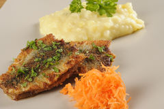 Fried herring with mashed potatoes Royalty Free Stock Photos