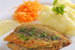 Fried herring with mashed potatoes Stock Photography