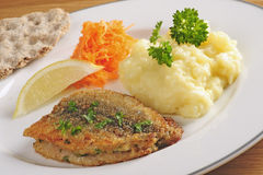 Fried herring with mashed potatoes Stock Images