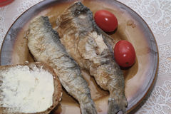 Fried herring in vinegar. Stock Photo