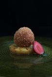 Fried ice cream. With pineapple and caramel Stock Images