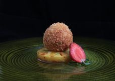 Fried ice cream. With pineapple and caramel Royalty Free Stock Image