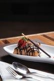 Fried ice cream cake with chocolate Royalty Free Stock Image