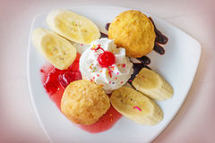 Fried ice-cream and whipped cream Royalty Free Stock Image