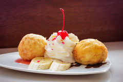 Fried ice-cream and whipped cream Stock Photo