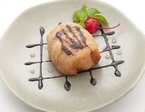 Fried icecrean with cherry dessert Stock Photo