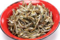 Fried ikan bilis(dried anchovies) , malaysian food Royalty Free Stock Photos