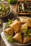 Fried Indian Samosas caseiro Fotografia de Stock Royalty Free