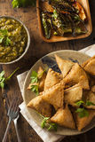 Fried Indian Samosas caseiro Fotos de Stock Royalty Free