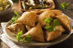 Fried Indian Samosas fait maison Photographie stock