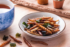 Fried insects - Bamboo worm insect crispy with pandan after frie. D and add a light coating of sauce and garnish Thai pepper powder, tea, brown cloth on wooden Royalty Free Stock Photos