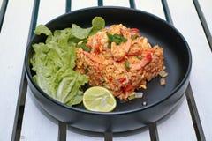 Fried Jasmine rice with prawns in yellow powder Royalty Free Stock Photo
