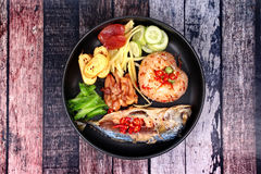 Fried jasmine rice with shrimp paste call Kao Klok Kapi . Thai cuisine,Fried jasmine rice with shrimp paste call Kao Klok Kapi in Thai with Chinese sausage Stock Photography