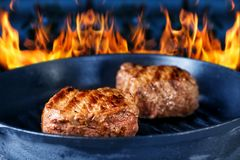 Fried juicy meat in a grill on fire Stock Photography