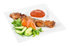 Fried kebab meat Stock Images