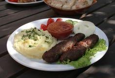Fried kebab meat stock image