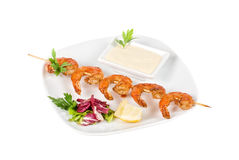 Fried kebab of shrimps Royalty Free Stock Photography