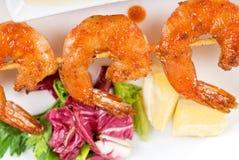 Fried kebab of shrimps Stock Photography