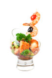 Fried kebab of shrimps and fish Stock Photos