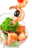Fried kebab of shrimps and fish Royalty Free Stock Photos