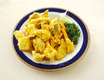 Fried king oyster mushroom  with  black pepper / salted egg Royalty Free Stock Photo
