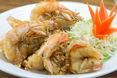 Fried king prawns with garlic and herbs Stock Image