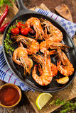 Fried king prawns Stock Photos