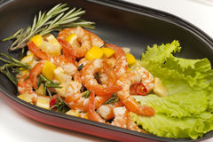 Fried King prawns with lemon Stock Photography