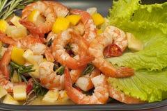 Fried King prawns with lemon Stock Images